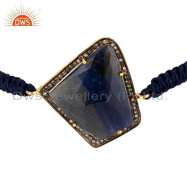 Exporter 925 Sterling Silver Blue Sapphire And Diamond Connector Macrame Bracelet