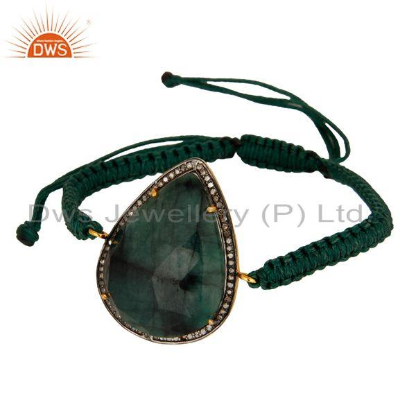 Exporter Natural Emerald Gemstone Pave Diamond Sterling Silver Macrame Bracelet