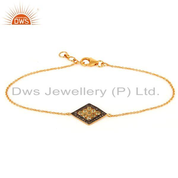 Manufacturer of Pave Set Diamond And Peridot 925 Sterling Silver Chain Bracelet - Gold Plated