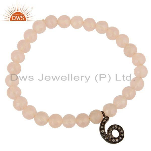 Exporter Rose Chalcedony Stretch Bracelet With Pave Set Diamond 6 Number Charms