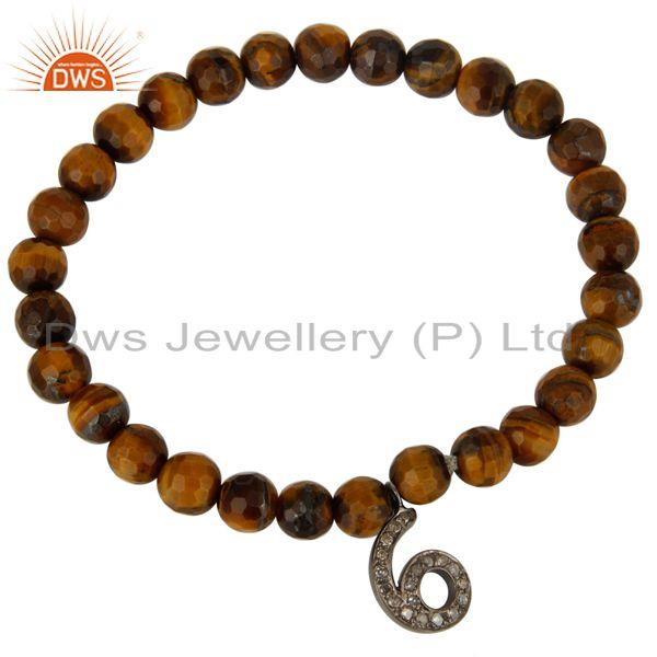 Exporter 6 Number Pave Set Diamond Charm And Faceted Tiger Eye Beads Stretch Bracelet