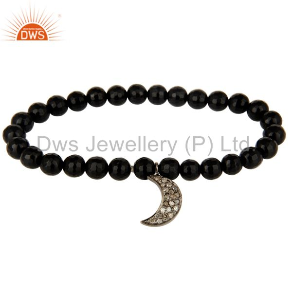 Exporter 925 Sterling Silver Pave Diamond Crescent Moon Charm Black Onyx Stretch Bracelet