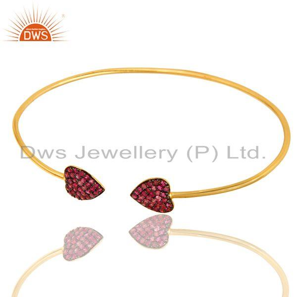 Exporter 18K Yellow Gold Plated Sterling Silver Pink Sapphire Gemstone Stackable Bangle