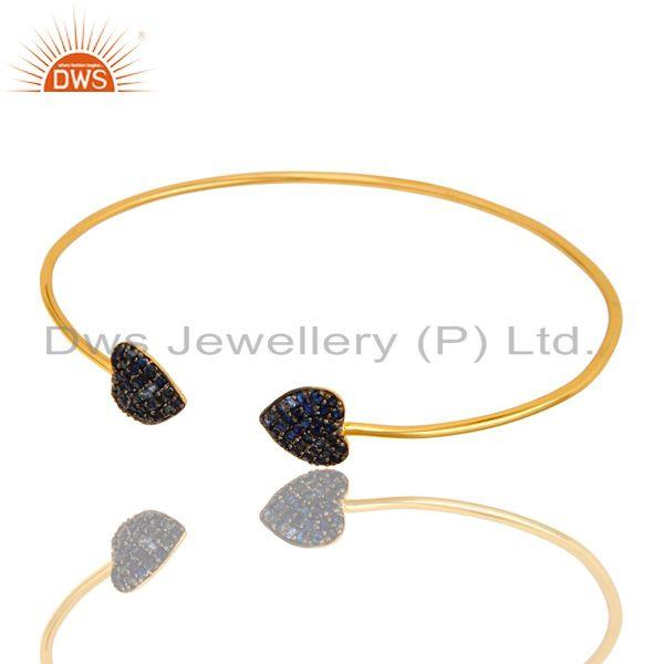 Exporter Blue Sapphire Gemstone Heart Stacking Open Bangle In 18K Gold On Sterling Silver