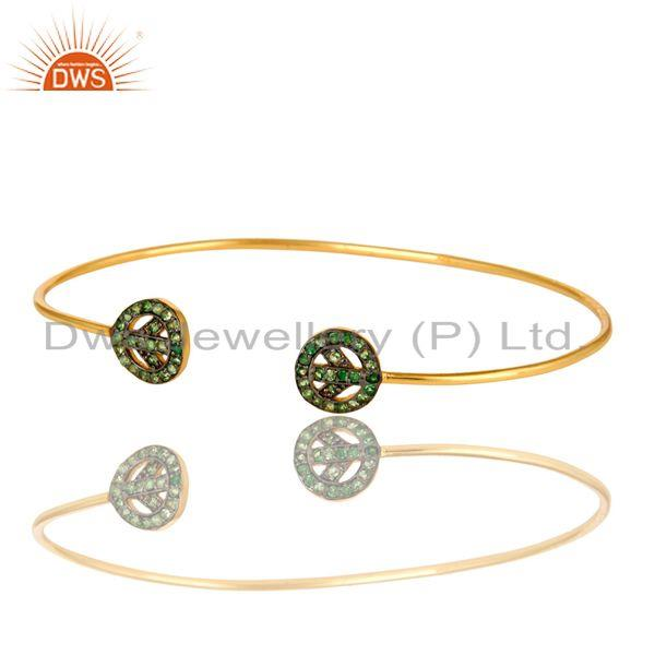 Exporter 14K Yellow Gold Plated Sterling Silver Tsavorite Peace Sign Stack Bangle Cuff
