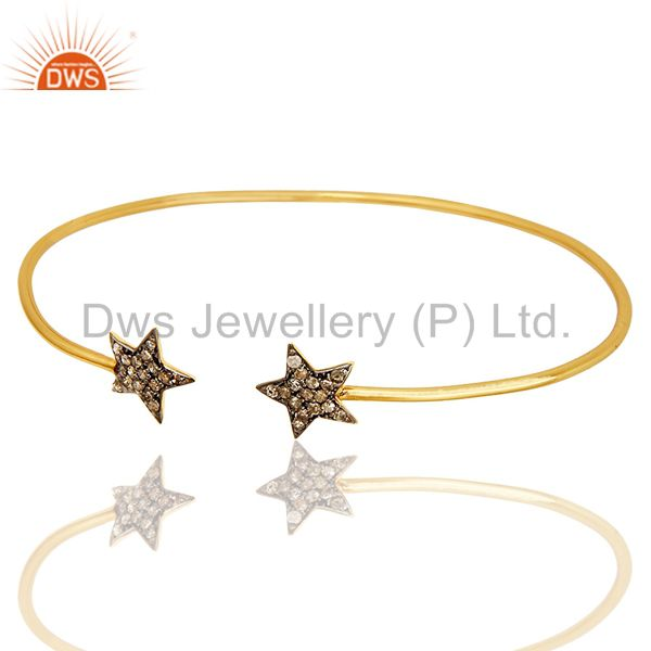 Exporter Pave Set Diamond Star Adjustable Open Bangle Made In 14K Yellow Gold Over Silver