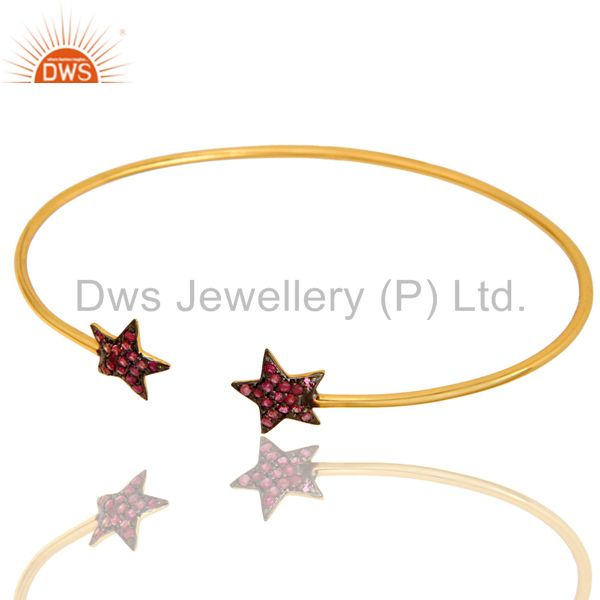 Exporter 18K Yellow Gold Plated Silver Pink Sapphire Star Stackable Open Bangle