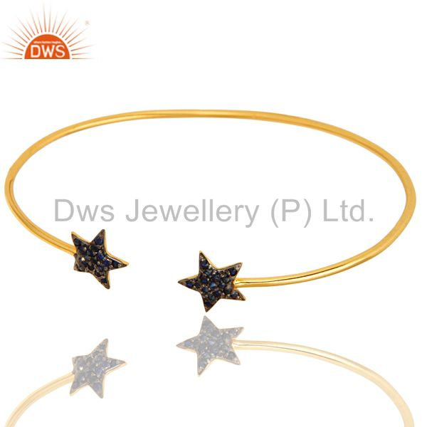 Exporter 18K Yellow Gold Plated Silver Blue Sapphire Star Stacking Open Bangle