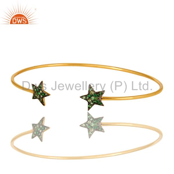 Exporter 14K Yellow Gold Plated Sterling Silver Tsavorite Gemstone Star Sign Open Bangle