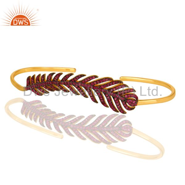 Exporter Ruby Gemstone Leaf Designer Wedding Palm Bracelet Made In 14K Gold Over Silver