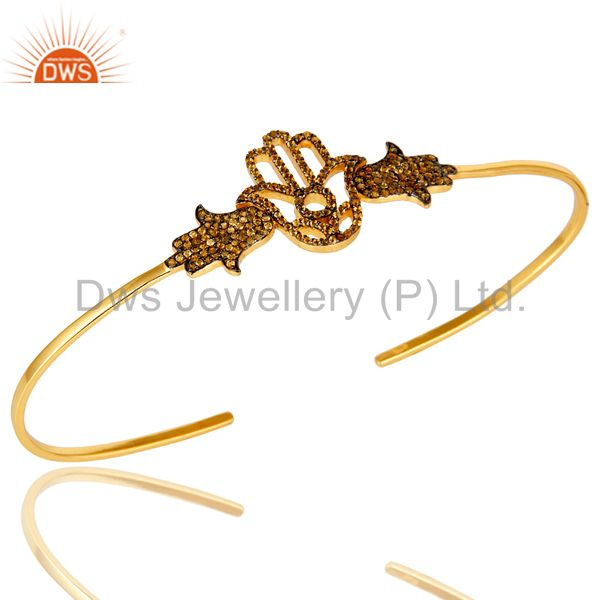 Exporter 14K Yellow Gold Plated Sterling Silver Citrine Hamsa Hand Palm Bracelet Bangle