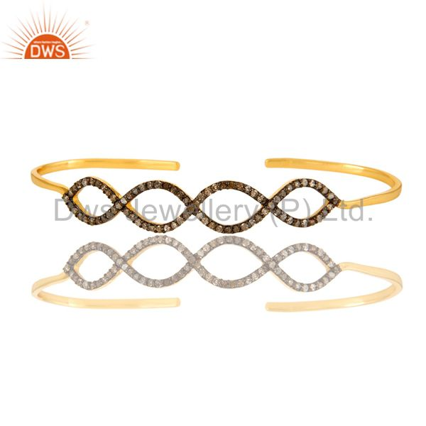 Exporter Pave Set Diamond Infinity Palm Bracelet Made In 18K Gold Over Sterling Silver