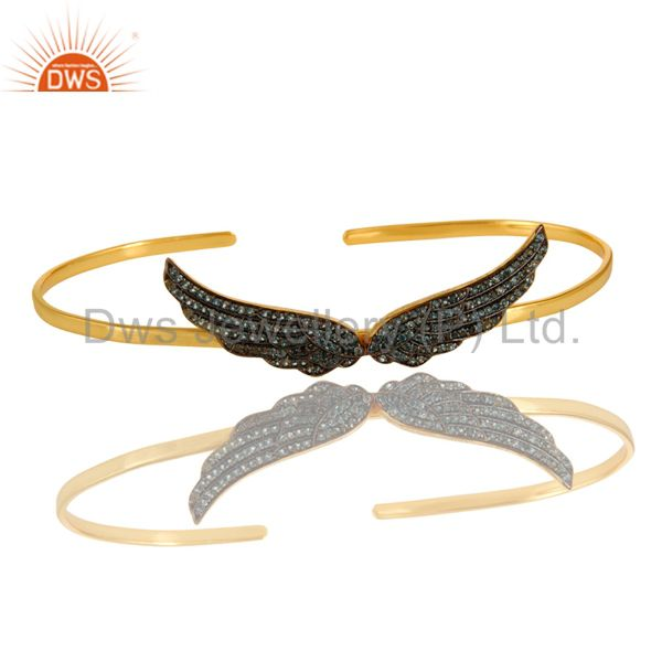 Exporter London Blue Topaz Gemstone Angel Wing Palm Bracelet Bangle In 18K Gold On Silver