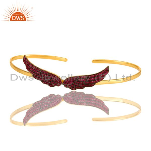 Exporter Ruby Gemstone Gemstone Angel Wing Cuff Bangle Made In 14K Gold Over Silver