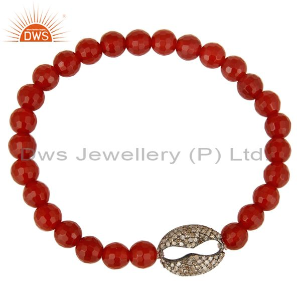 Exporter Pave Set Diamond Sterling Silver Charms Red Carnelian Beaded Stretch Bracelet
