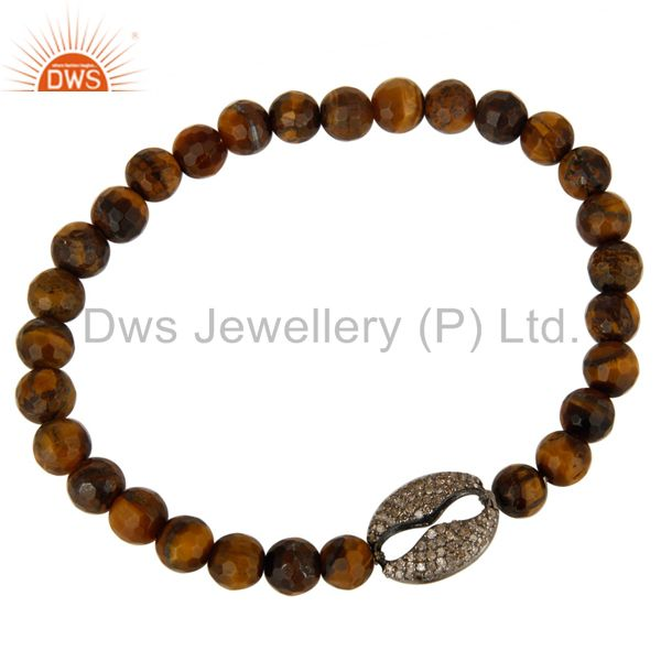 Exporter Natural Tiger Eye Gemstone Stretch Bracelet With Pave Set Diamond Silver Charms