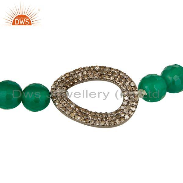 Exporter Natural Green Onyx Faceted Gemstone Stretch Bracelet With Pave Set Diamond Charm