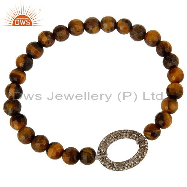 Exporter Faceted Tiger Eye Gemstone Stretch Bracelet With Pave Set Diamond Silver Charms