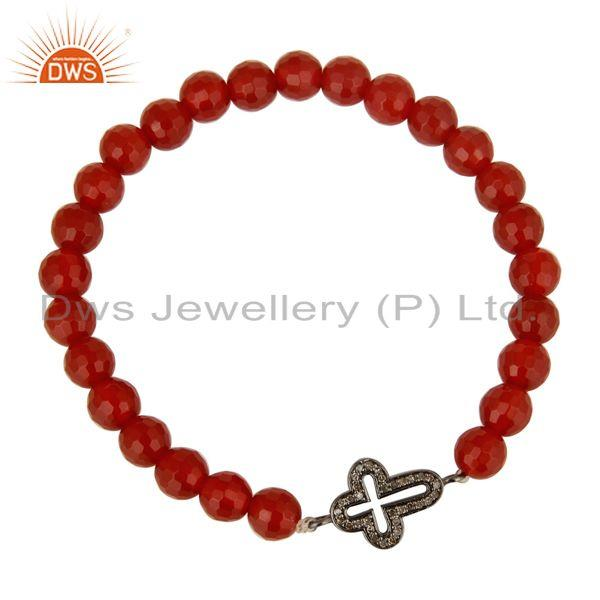 Exporter Pave Set Diamond 925 Silver Cross Charm Carnelian Beaded Adjustable Bracelet