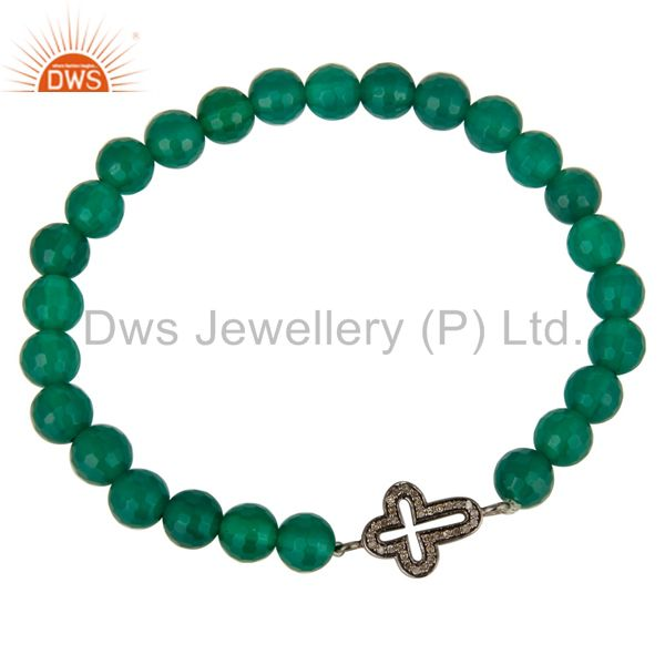 Exporter Pave Set Diamond Silver Star Charm Green Onyx Gemstone Adjustable Bracelet