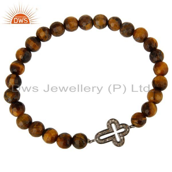 Exporter Faceted Tiger Eye Gemstone Stretch Bracelet With Pave Set Diamond Cross Charms