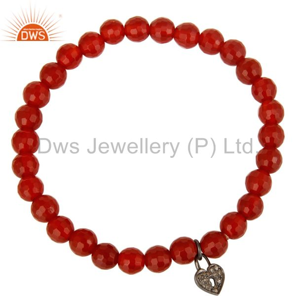 Exporter 925 Sterling Silver Pave Diamond Lock Charms Carnelian Stretch Bracelet