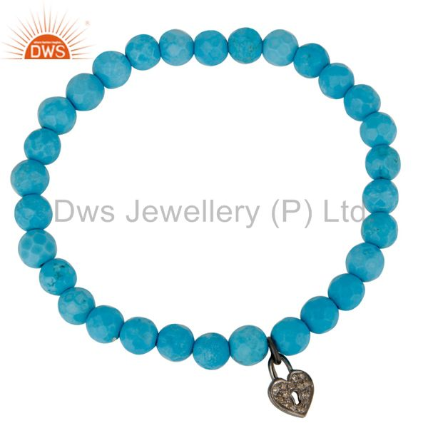 Exporter Pave Set Diamond Sterling Silver Lock Charm Turquoise Beaded Stretch Bracelet