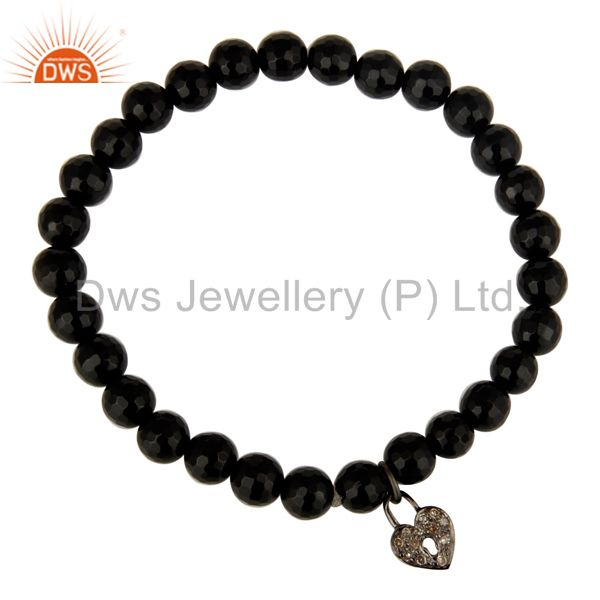 Exporter Faceted Black Onyx Beads Pave Diamond Sterling Silver Lock Charms Bracelet
