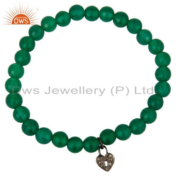 Exporter Faceted Green Onyx Beads 925 Silver Pave Diamond Lock Charms Stretch Bracelet