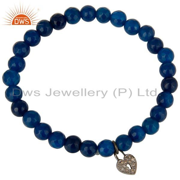 Exporter Blue Onyx Faceted Beads Stretch Bracelet With Silver Diamond Pave Pad Lock Charm