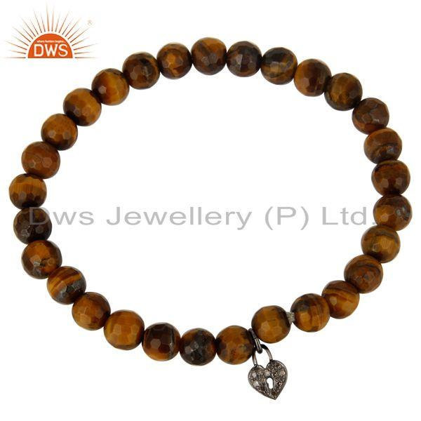 Exporter Faceted Tiger Eye Gemstone Beads Pave Diamond Silver Lock Charms Bracelet