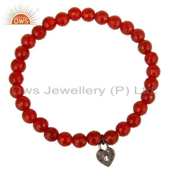 Exporter 6mm Faceted Carnelian Beads 925 Silver Pave Diamond Lock Charms Stretch Bracelet