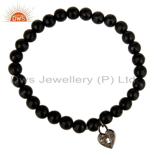 Exporter 6mm Black Onyx Gemstone Beads Stretch Bracelet With Silver Pave Diamond Charms