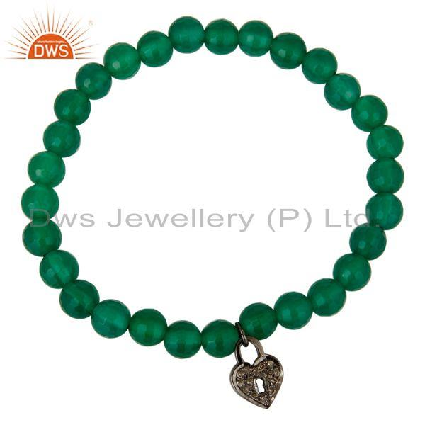 Exporter 6mm Green Onyx Gemstone Beads Stretch Bracelet With Silver Pave Diamond Charms