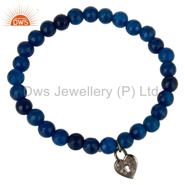 Exporter Faceted Blue Aventurine Beads Pave Diamond Sterling Silver Stretch Bracelet