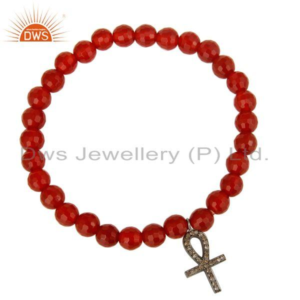 Exporter Faceted Carnelian Gemstone Stretch Bracelet With Pave Diamond