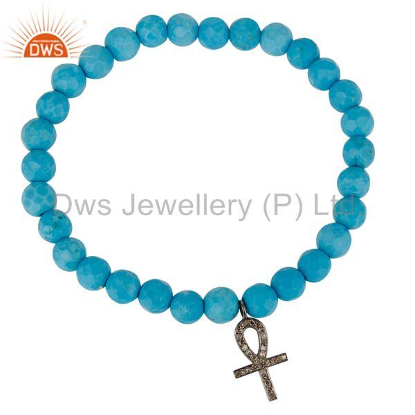 Exporter Turquoise Gemstone Beaded Pave Set Diamond Silver Ankh Charm Stretch Bracelet