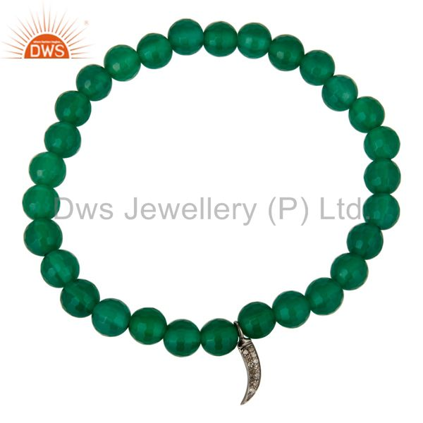 Exporter 925 Sterling Silver Pave Diamond Shark Tooth Charms Green Onyx Stretch Bracelet