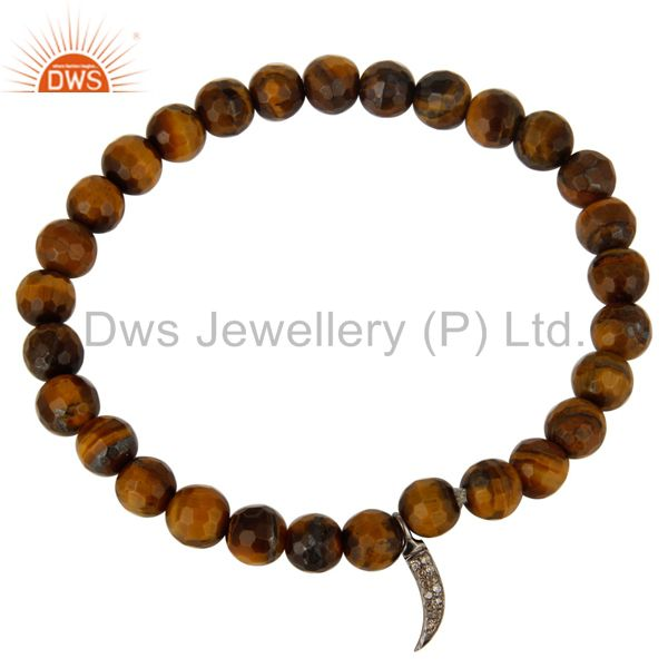 Exporter Tiger Eye Gemstone Sterling Silver Pave Diamond Shark Tooth Charms Bracelet