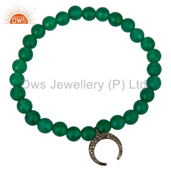 Exporter 925 Sterling Silver Pave Diamond Horseshoe Charms Green Onyx Beads Bracelet