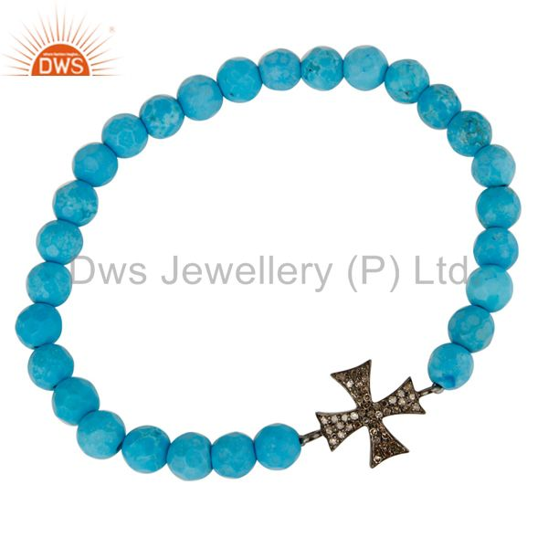 Exporter Pave Set Diamond Silver Star Charm Turquoise Gemstone Adjustable Bracelet