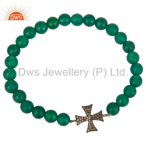 Exporter Green Onyx Stone Beaded Stretch Bracelet with Pave Diamond Silver Cross Charm