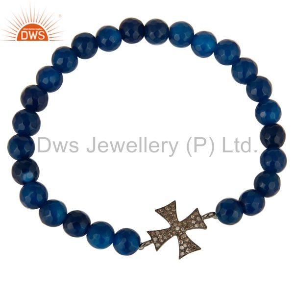 Exporter Pave Diamond 925 Sterling Silver Cross Charms Bracelet With Blue Onyx Beads