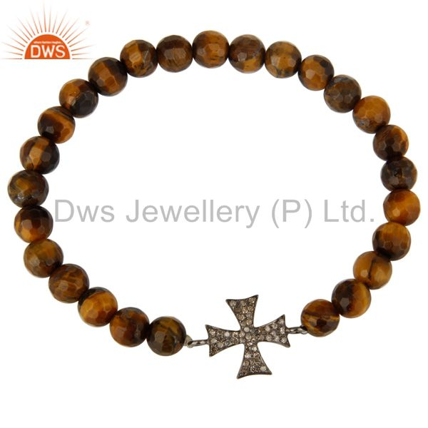Exporter Faceted Tiger Eye Gemstone Bracelet With Silver Pave Diamond Star Charm
