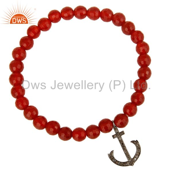 Exporter 925 Sterling Silver Pave Diamond Anchor Sign Charms Carnelian Beads Bracelet