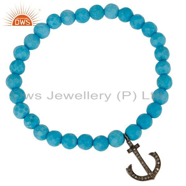 Exporter Turquoise Gemstone Stretch Bracelet With Pave Set Diamond Silver Anchor Charms