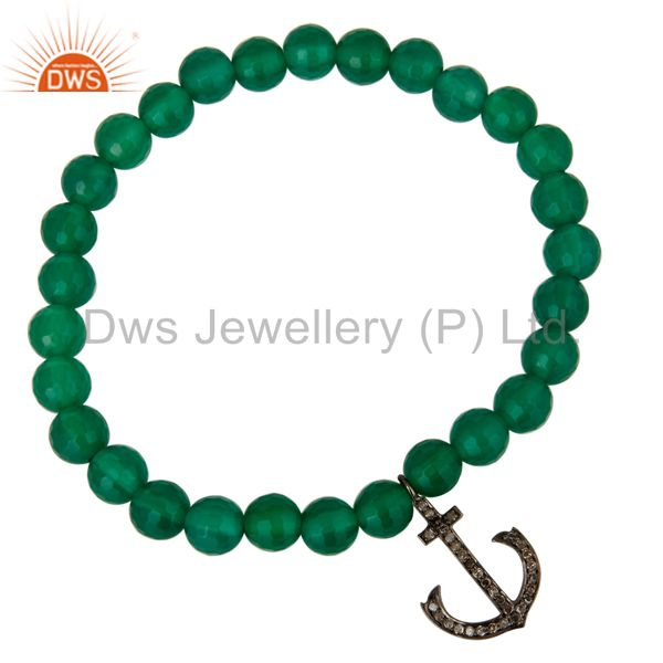Exporter 925 Sterling Silver Pave Diamond Anchor Charms Green Onyx Beads Stretch Bracelet