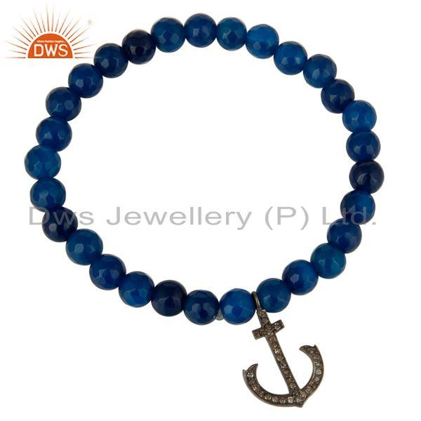Exporter Blue Onyx 925 Sterling Silver Pave Diamond Anchor Sign Charms Stretch Bracelet