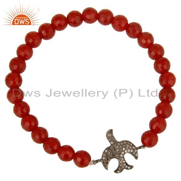 Exporter Pave Diamond Silver Flying Bird Charms Faceted Carnelian Gemstone Bracelet