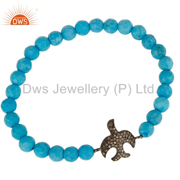Exporter Pave Set Diamond Silver Flying Bird Charm Turquoise Gemstone Adjustable Bracelet
